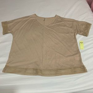 PerSeption Women's Top With Lace XL Tan Blouse